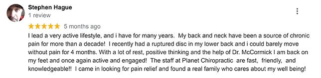 Chiropractic Mill Creek WA Planet Chiropractic Patient Testimonial